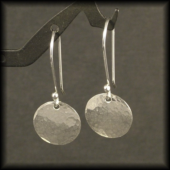 Hammered Silver Earrings Small Sterling Silver Circle Dangle Earrings Disk Timeless Simple Everyday Wear NOW available in Gold READY to SHIP