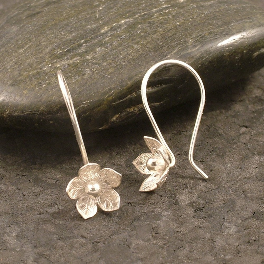 Silver Flower Earrings Feminine Charm Sterling Silver