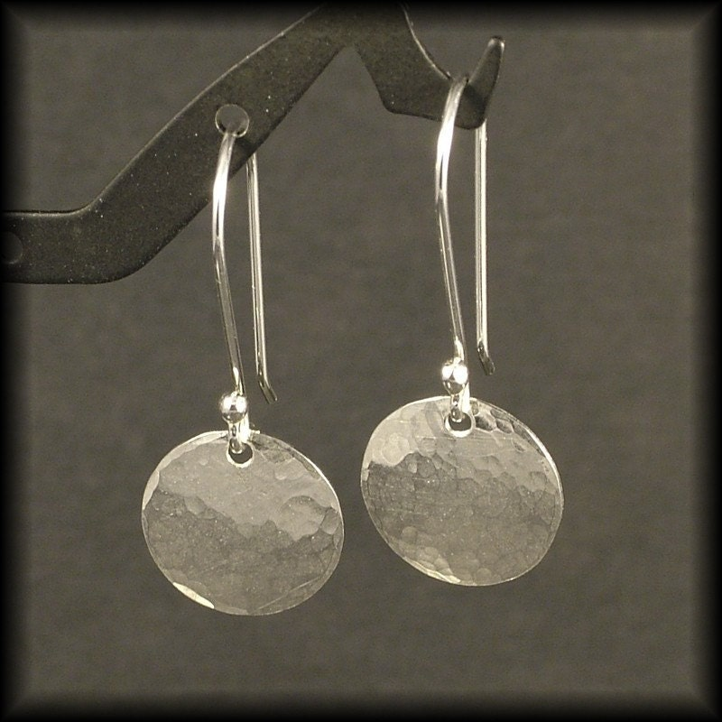 Hammered Silver Earrings Small Sterling Circle Dangle Earrings
