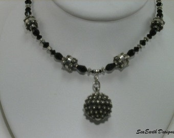 Black Crystal Bali Necklace