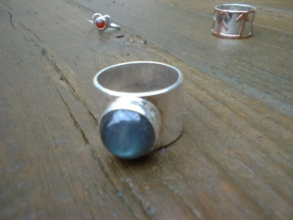 Labradorite  wide band ring