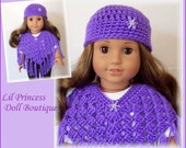Doll Clothes Made To Fit American Girl, 2 Pc PURPLE Poncho and Hat Set, Crochet 18 Inch Doll Clothes