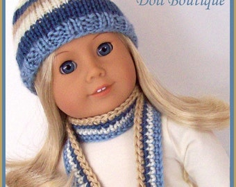 Doll Clothes Made To Fit American Girl, Knitted Stripe Hat and Crochet Scarf Set , Handmade, 18 Inch Doll Clothes