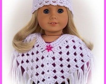Handmade Doll Clothes Made To Fit American Girl,  White Sparkle Poncho, Hat Set, Crochet, 18 Inch Doll Clothes