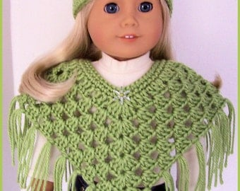 Handmade Doll Clothes Made To Fit American Girl, Pistachio Poncho Set, Crochet, Handmade, 18 Inch