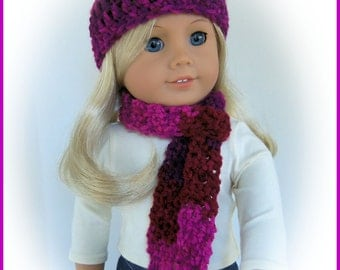 Fits American Girl Doll, SECRETS Hat and Scarf Set, Crochet, Handmade