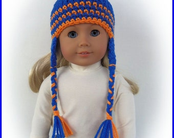 Order SCHOOL COLORS, Earflap Pigtail Hat Made To Fit American Girl Dolls, 18 Inch Handmade Doll Clothes