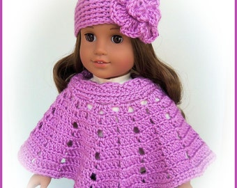 Doll Clothes Made To Fit American Girl, Crochet 2 Pc Poncho Set, BLACKBERRY, Flower Hat, Fits 18 Inch