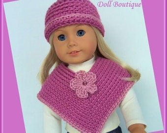 Made For American Girl Dolls, Poncho and Hat Set, Plum Wine, Crochet 18 Inch Doll Clothes