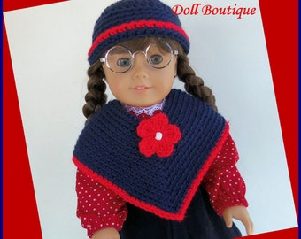 Doll Clothes Made To Fit American Girl, Crochet Poncho Set, Red, White & Blue Fits 18 Inch