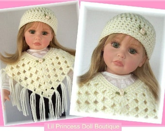 Made For Kidz N Cats, Katie by Effanbee (Tonner) Crochet, 2 Pc IVORY Poncho and Hat Set, 18 Inch Handmade Doll Clothes