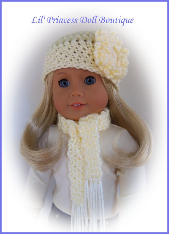 Fits American Girl Doll, 2 Pc IVORY Crochet Hat and Scarf Set, 18 Inch Handmade