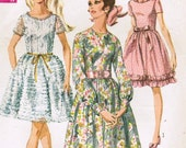 1960s Simplicity 7945 Vintage Sewing Pattern Misses' Dress Size 16 Bust 38