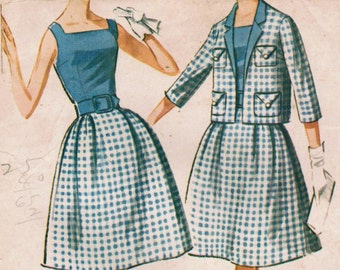1960s McCall's 6680 UNCUT Vintage Sewing Pattern Junior's Dress and Jacket Size 11 Bust 31-1/2