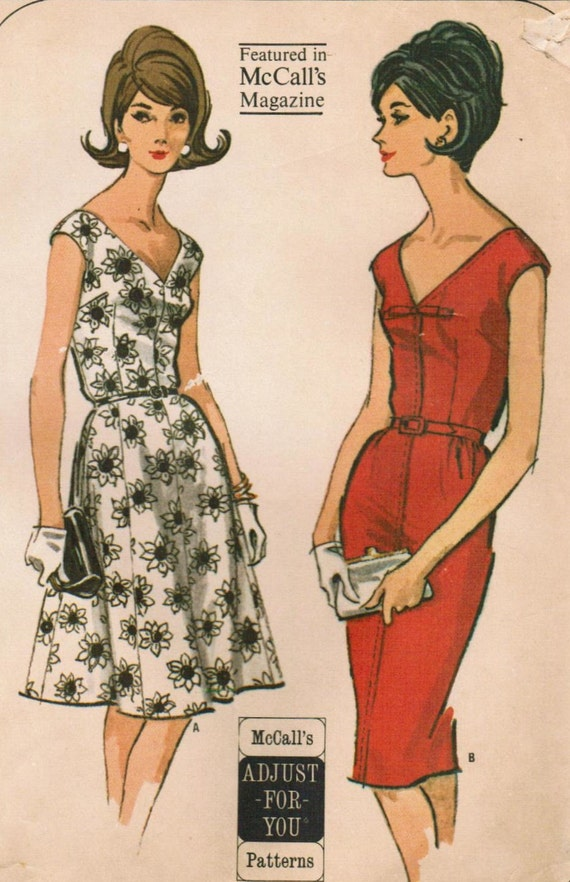 Vintage 1964 Mccall's 7314 Sewing Pattern Misses' Half Size Dress with Slim or Full Skirt Size 16-1/2 Size 18-1/2