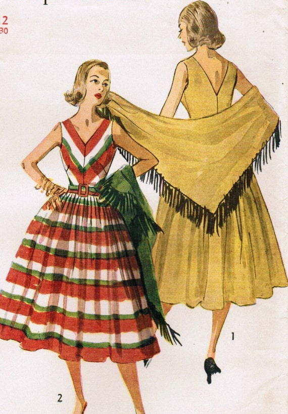 Vintage 1953 Simplicity 4287 UNCUT Sewing Pattern Misses' One-Piece Dress and Stole Size 12 Bust 30