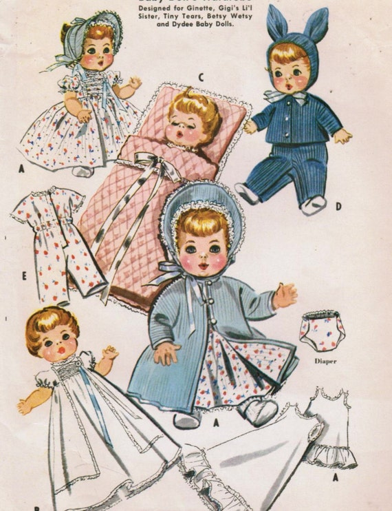Vintage 1957 McCall's 2183 Sewing Pattern Baby Doll Wardrobe for 11 inch and 12 inch Dolls