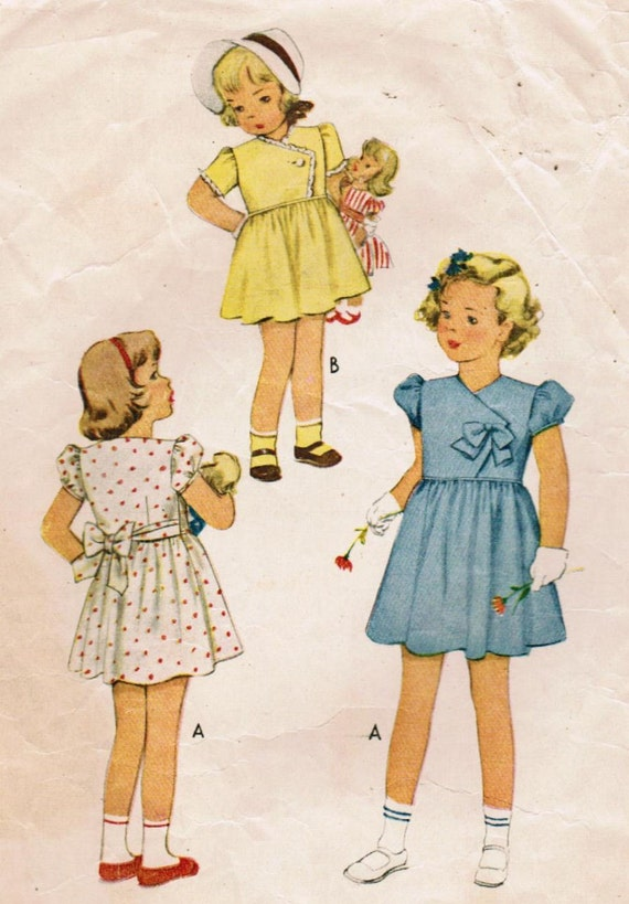 Vintage 1946 McCall 6661 Sewing Pattern Child's Dress Size 4
