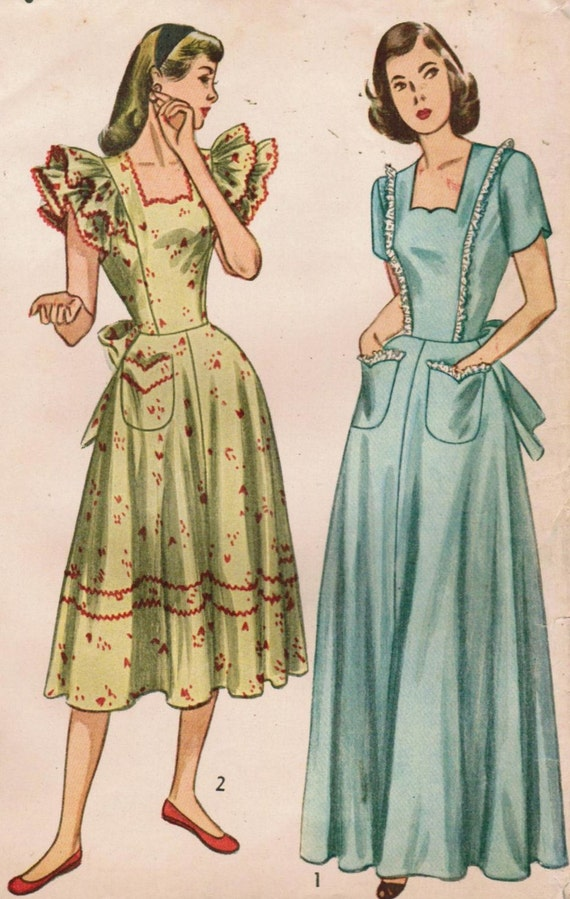 Vintage 1947 Simplicity 2266 UNCUT Sewing Pattern Misses' Housecoat  and Housedress Size 16 Bust 34
