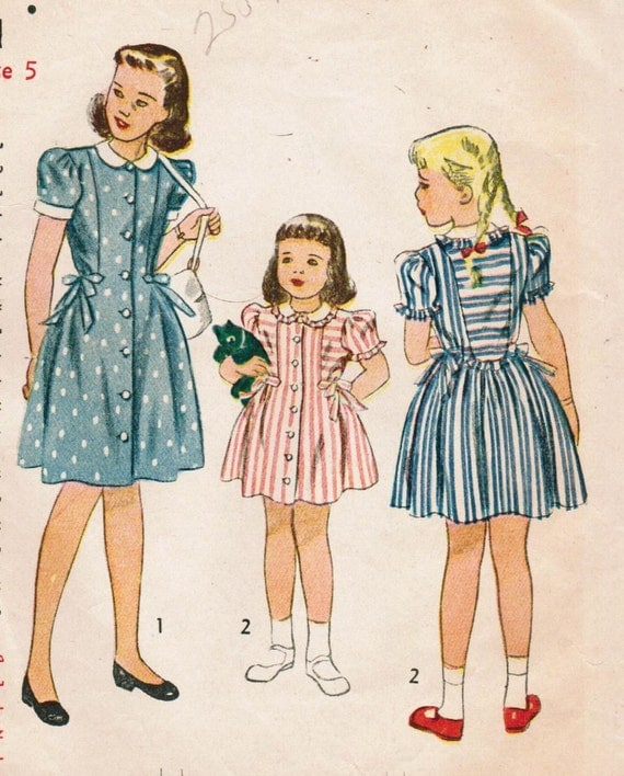 Vintage 1946 Simplicity 1994 Sewing Pattern Girls' One-Piece Dress Size 5