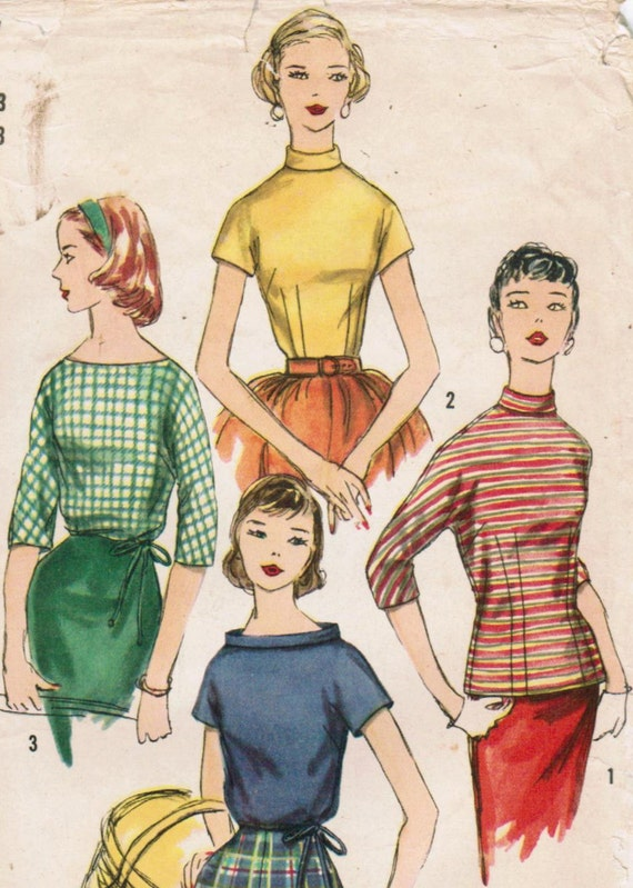 1950s Simplicity 1727 Vintage Sewing Pattern Junior Misses' Blouse and Overblouse Size 13 Bust 33