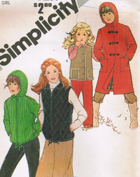 1980s Simplicity 5251 UNCUT Vintage Sewing Pattern Girls' Hooded Coat, Vest, Hooded Jacket Size 12