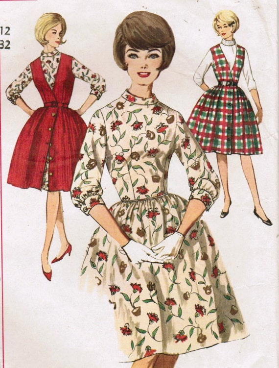 1960s Simplicity 5107 Vintage Sewing Pattern Misses' One-Piece Dress and Jumper Size 12 Bust 32