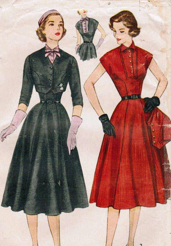 1950s Simplicity 8421 Vintage Sewing Pattern Misses' Dress with Detachable Dickey and Jacket Size 12 Bust 30