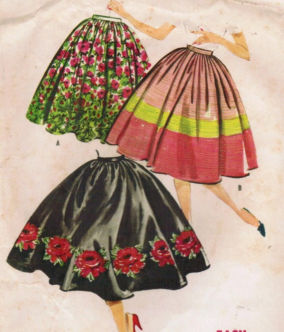 1950s McCall's 4935 UNCUT Vintage Sewing Pattern Misses' Full Skirt Size Waist 28