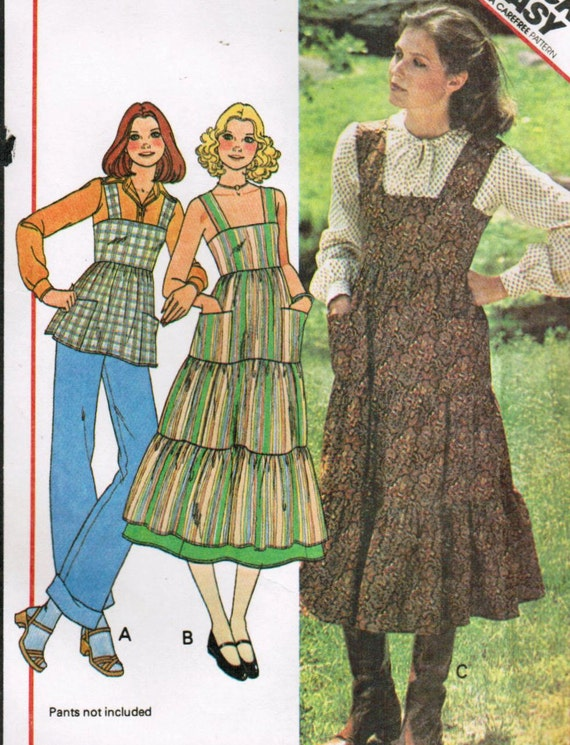 1970s McCall's 5745 UNCUT Vintage Sewing Pattern Misses' Dress, Jumper, or Top Size 12 Bust 34