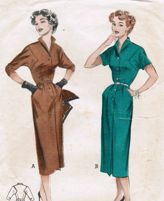 1950s Butterick 6797 Vintage Sewing Pattern Misses' Slim Spectator Dress Size 12 Bust 30