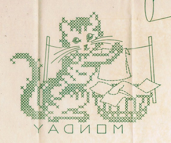 1940s Laura Wheeler 1098 UNCUT Vintage Embroidery Pattern Cross Stitch Kitten Towels Days of the Week