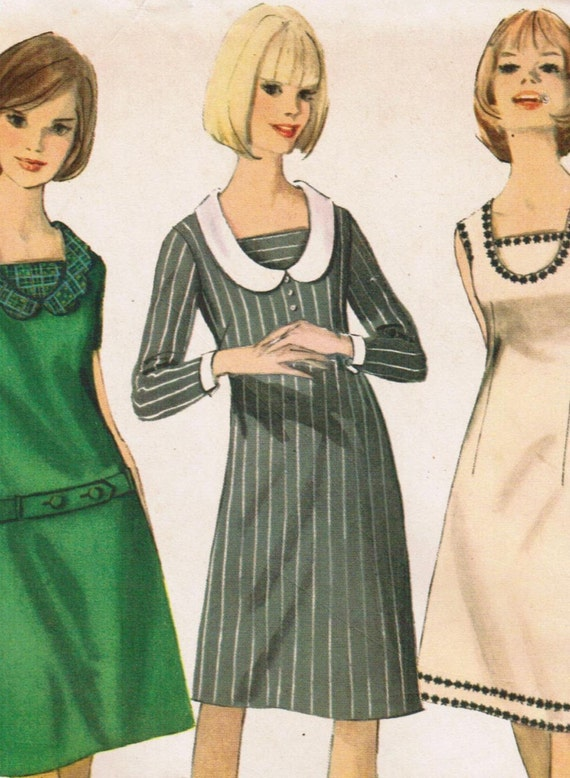 Vintage 1965 Simplicity 6114 UNCUT Sewing Pattern Junior One-Piece Dress with Detachable Collar and Cuffs Size 13 Bust 33