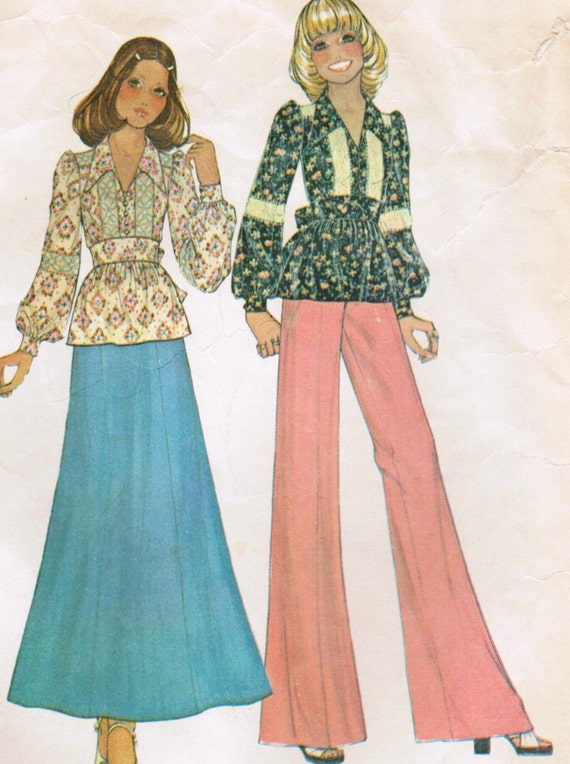 Vintage 1974 McCall's 4133 Misses' and Junior Top and Pants Sewing Pattern Size 12