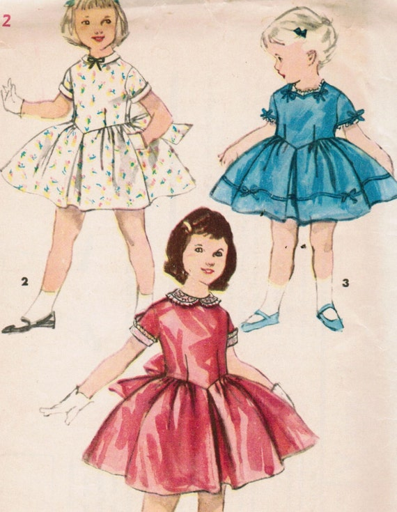 Vintage 1955 Simplicity 1444 UNCUT Sewing Pattern Child's One-Piece Dress with Detachable Collar and Cuffs Size 2