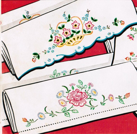 Vintage ca. 1950s Vogart 601 UNCUT Embroidery Transfer Pattern 3 Pair of Lovely Pillow Cases