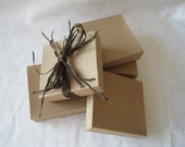 Kraft Jewelry Gift Boxes, Party Favor Boxes, Wedding Favor Boxes, Small Boxes, Cotton Filled 3.5x3.5x1 Pack of 10