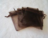 20 Drawstring Bags, Brown Organza Bags, Dark Brown Bags, Gift Bags, Jewelry Bags, Party Favor Bags, Wedding Favor Bags, Sachet Bags 3x4