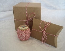 RED Bakers Twine, Cotton Twine, Colored Twine, Red and White Twine, Bakery Twine, String, 4 ply 50 Yards On 2 inch Wood Spool