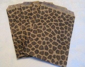 100 Paper Bags, Gift Bags, Candy Bags, Animal Print, Cheetah Leopard Print, Small Paper Bags, Retail Bags, Merchandise Bags, Paper Bag 5x7