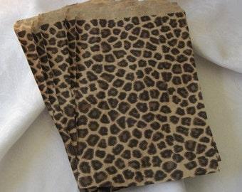 100 Paper Bags, Animal Print Bags, Cheetah Leopard Print Bags, Gift Bags, Party Favor Bags 6x9
