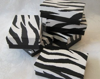 10 Gift Boxes, Jewelry Gift Boxes, Gift Box, Wedding Favor Box, Animal Print, Zebra Print, Small Gift Boxes, Cotton Filled 3x2x1
