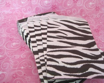 100 Paper Bags, Gift Bags, Zebra Animal Print, Merchandise Bags, Retail Bags, Candy Bags, Small Paper Bags, Favor Bags, Gift Bag 4x6