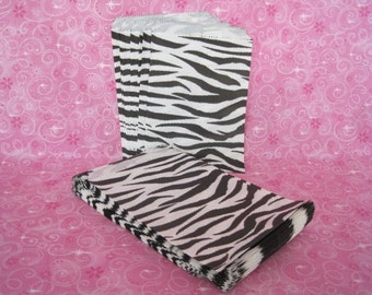50 Paper Bags, Gift Bags, Zebra Animal Print, Candy Bags, Merchandise Bags, Retail Bags, Party Favor Bags, Stripe Paper Bags 5x7