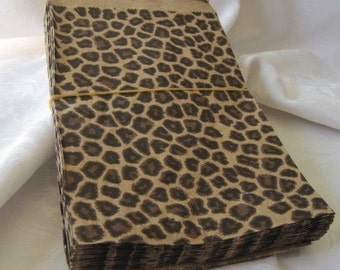 50 Paper Bags, Gift Bags, Cheetah Leopard Animal Print, Brown Paper Bags, Merchandise Bags, Retail Bags, Party Favor Bags 6x9