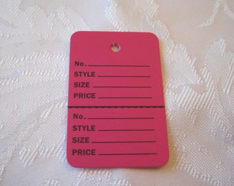100 Price Tags, Hanging Tags, 2 Part Tags, Clothes Tag, Retail Merchandise Tags, Store Tag, Inventory Tag, Pink Tags, Hot Pink 1 1/4 x 1 7/8