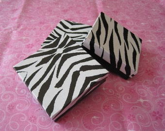 Gift Boxes, Zebra Animal Print, Jewelry Gift Boxes, Jewelry Gift Box, Wedding Favor Boxes, Party Favor Boxes, Cotton Filled 3.5x3.5x1 Pack20