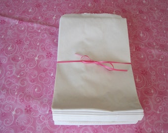 100 Paper Bags, Gift Bags, Kraft Bags, White Paper Bags, Candy Bags, Merchandise Bags, Retail Bags, Party Favor Bags 6x9