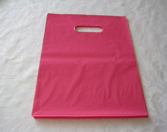 50 Pink Plastic Bags 9x12, Retail Merchandise Bags, Glossy Plastic Bags