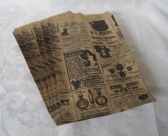 Vintage Newspaper Print Paper Gift Bags 6 x 9  Set of 100
